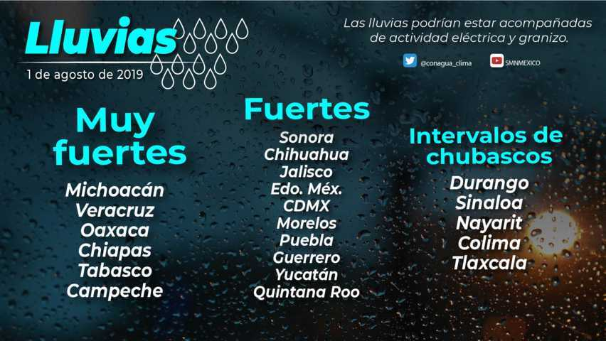 Se pronostican lluvias muy fuertes para Michoacán, Veracruz, Oaxaca, Chiapas, Tabasco y Campeche