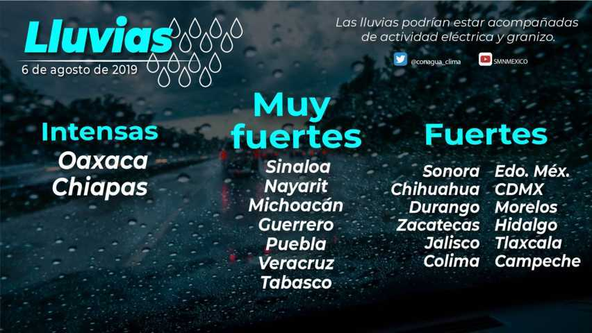 Hoy se pronostican lluvias fuertes para Tlaxcala