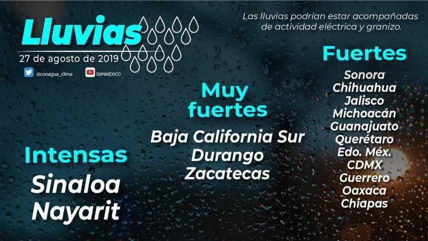 Se pronostican intervalos de chubascos en Tlaxcala