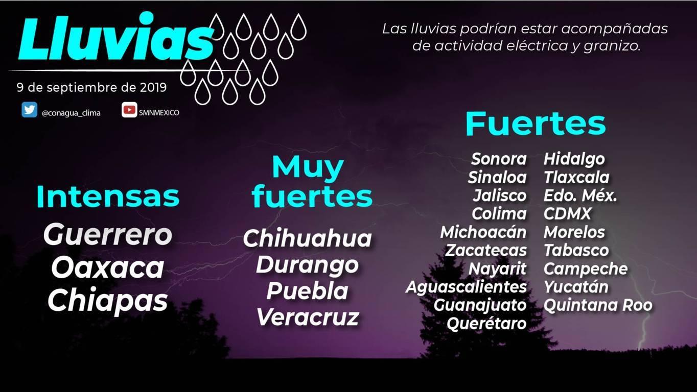 Se pronostican lluvias puntuales fuertes para Tlaxcala