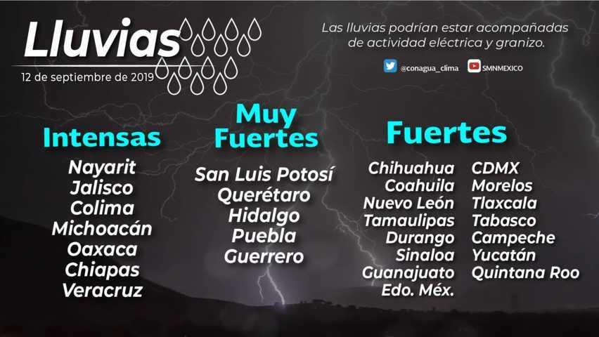 Se pronostican lluvias locales fuertes este jueves para Tlaxcala