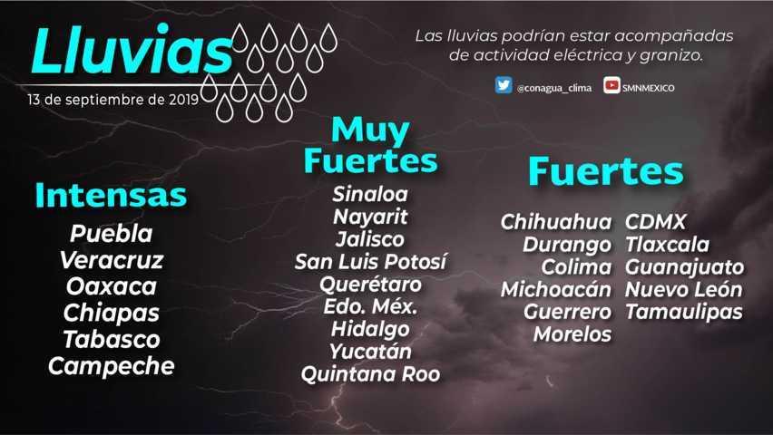 Se pronostican lluvias fuertes para Tlaxcala