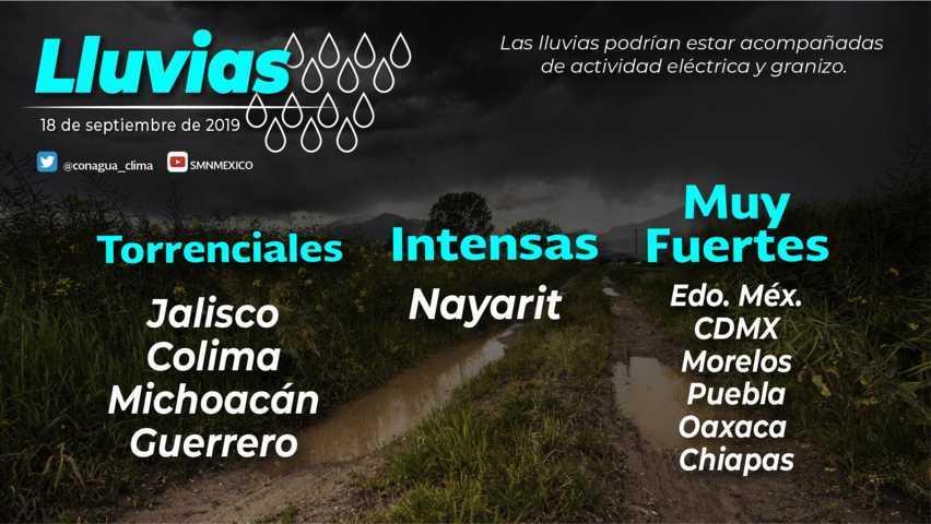 Se pronostican lluvias fuertes para hoy en Tlaxcala