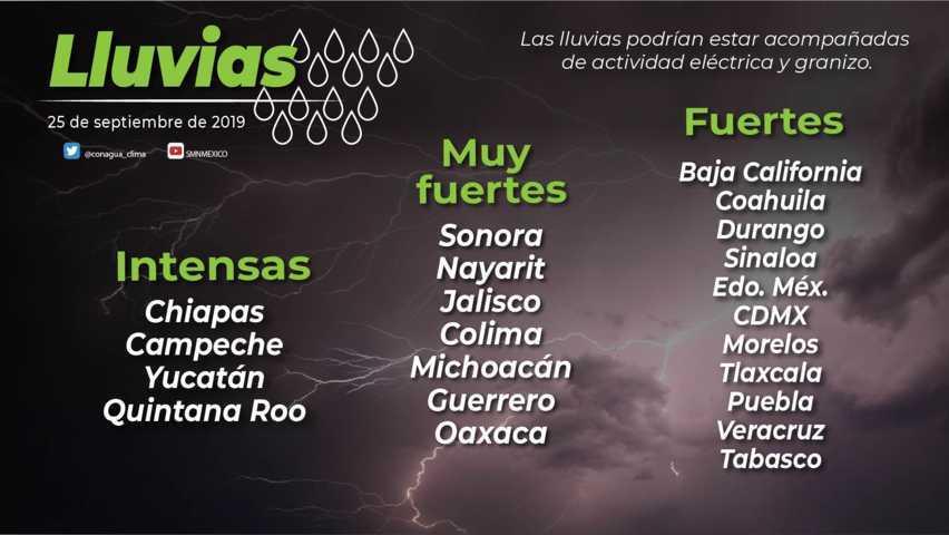 Hoy se pronostican lluvias locales fuertes para Tlaxcala