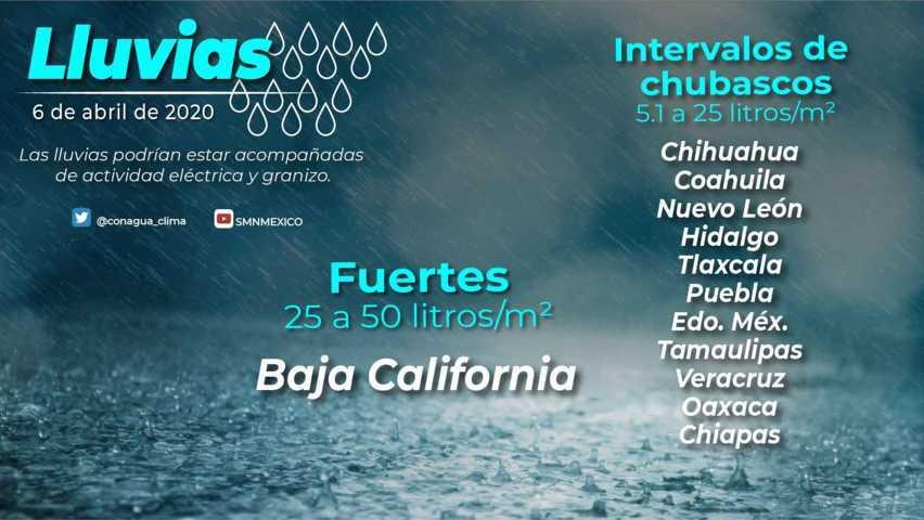 Se esperan lluvias moderadas para Tlaxcala el dia de hoy lunes