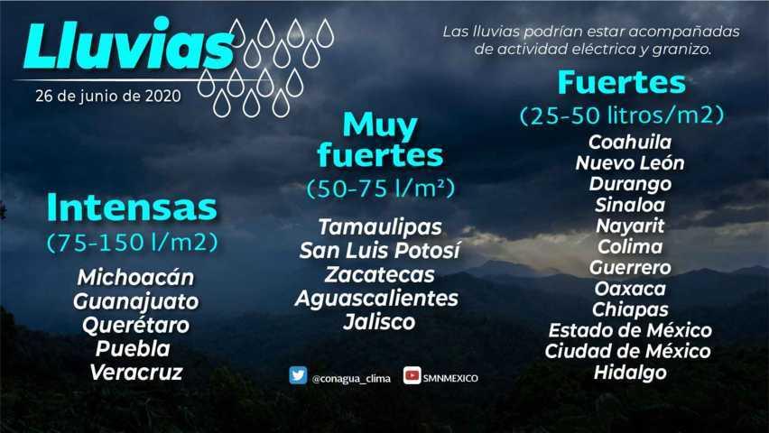 Se prevén lluvias intensas con descargas eléctricas y granizo en Guanajuato, Michoacán, Puebla, Querétaro y Veracruz