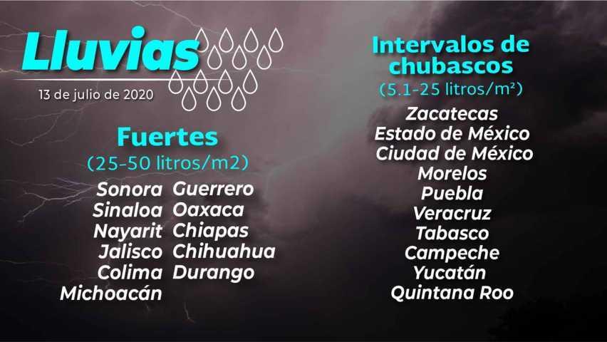 Se prevén lluvias asiladas para Tlaxcala el dia de hoy lunes