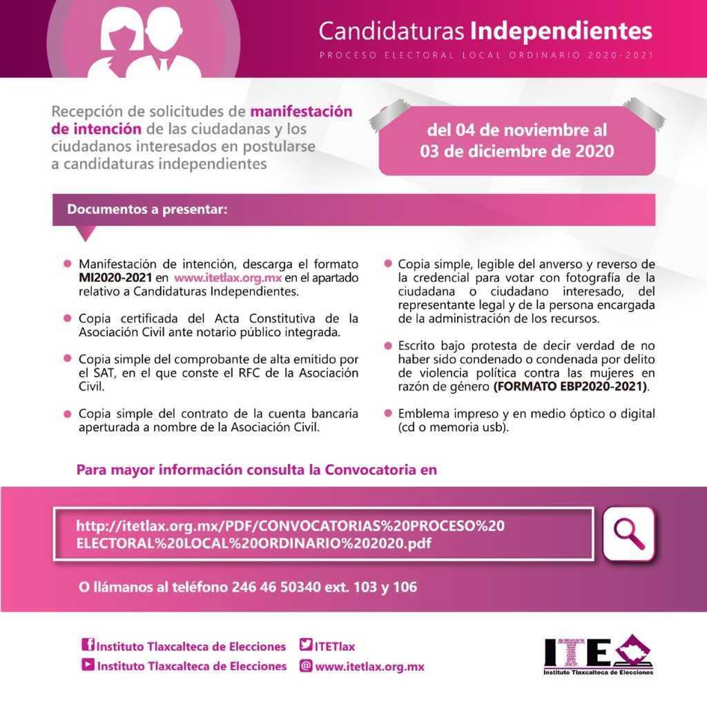 Inicia ITE recepción de manifestaciones de intención de para candidaturas independientes