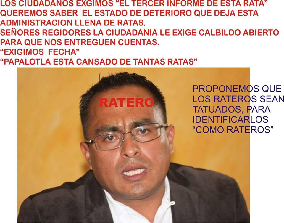"""Por """"ratero"""" exigen informe ciudadano al alcalde de Papalotla"""