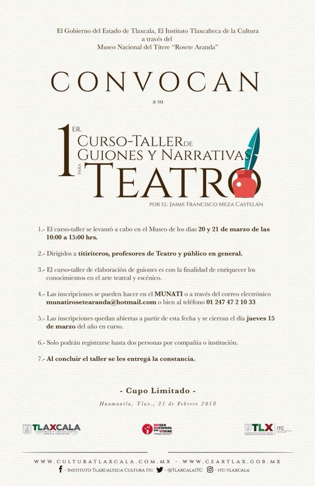 Realizará ITC Primer Curso-Taller de Guiones y Narrativas para teatro
