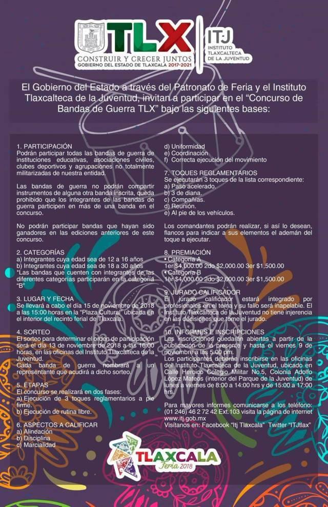 "Invita ITJ a participar en concurso de ""Bandas De Guerra Tlx"""