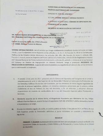 Demanda Ivonne Ortega a la Cámara de Diputados por desacato