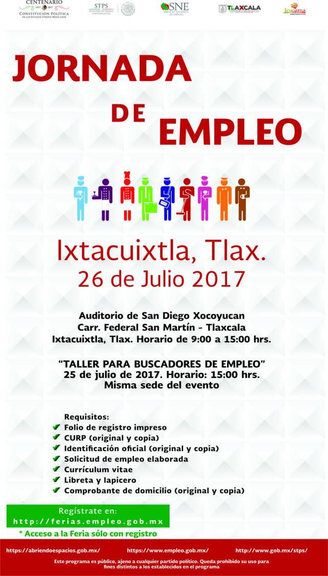 Realizará SEPUEDE Jornada de Empleo en Ixtacuixtla