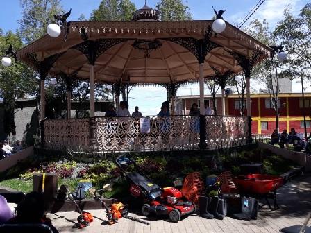 Rehabilitan kiosco de Loma Bonita en la capital de Tlaxcala