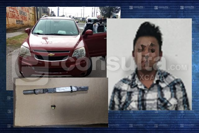 La policía estatal de caminos asegura una persona con un arma de fuego en Apizaco