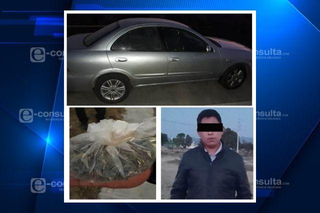 Policía Estatal detiene en Tlaxco a sujeto con enervantes