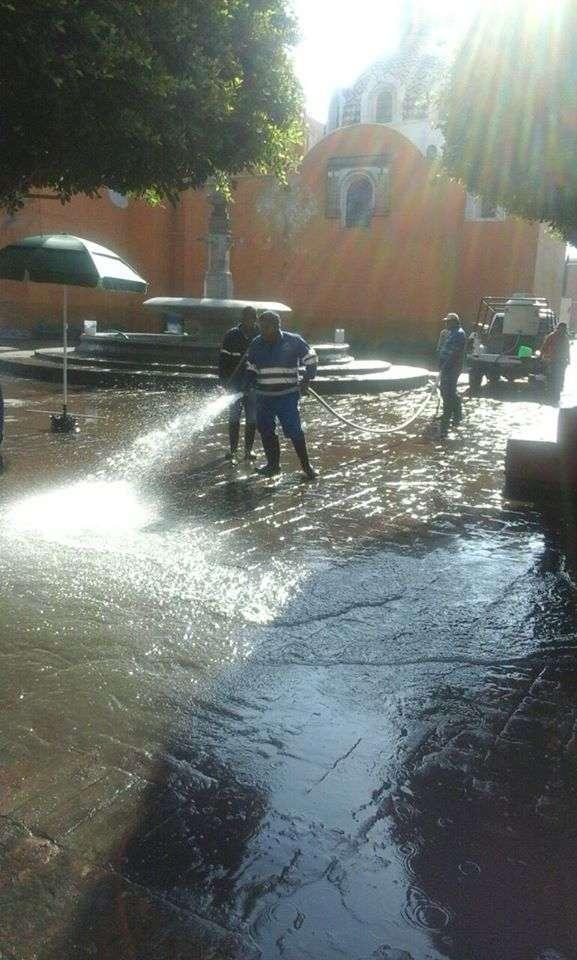 Avanzan acciones de limpieza en Centro Histórico de Tlaxcala