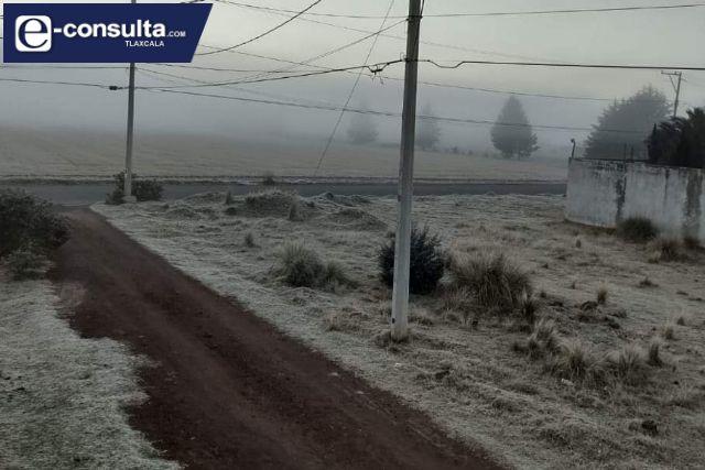 Tlaxco amanece congelado; se registra una sensación térmica de cero grados