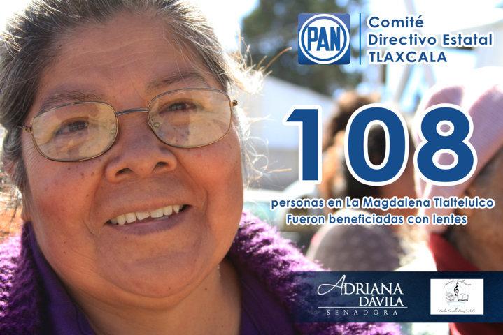 Entregan PAN Tlaxcala y senadora lentes a 108 adultos mayores en Tlaltelulco