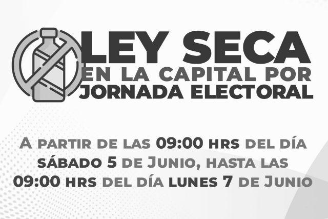 Habrá Ley Seca en Tlaxcala desde el sábado 5 hasta el lunes 7 de Junio