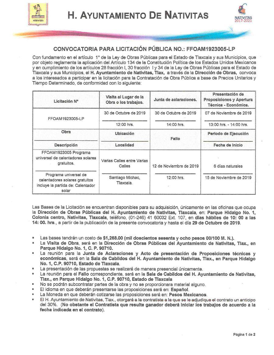 Licitación pública FFOAM1923005-LP en Nativitas