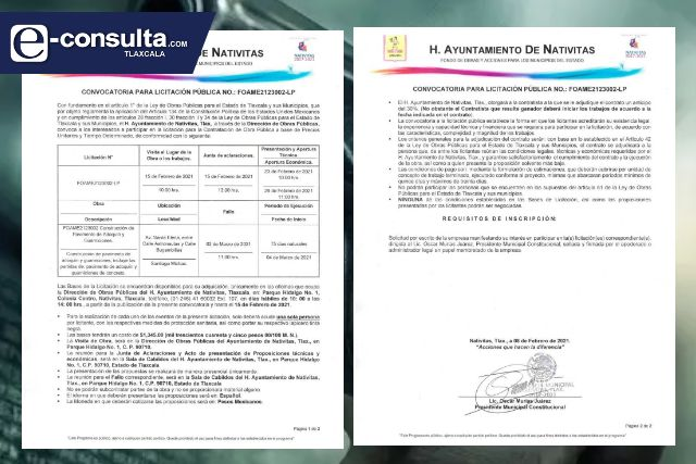 Convocatoria para licitación pública No. FOAME2123002-LP en Nativitas