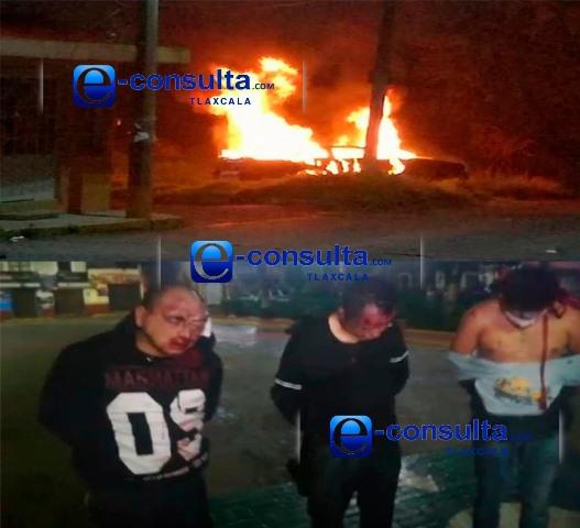 Por poco linchan a tres delincuentes en Papalotla