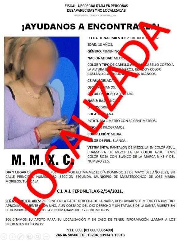 Localiza PGJE a mujer reportada como extraviada en Mazatecochco