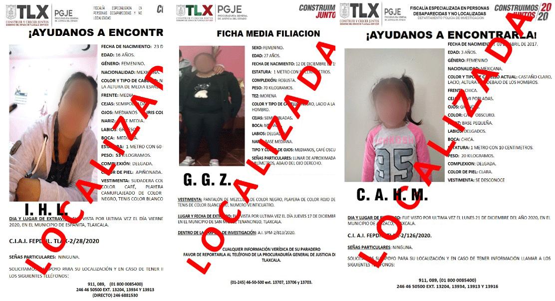Localiza PGJE a dos menores de edad y una mujer reportadas como extraviadas