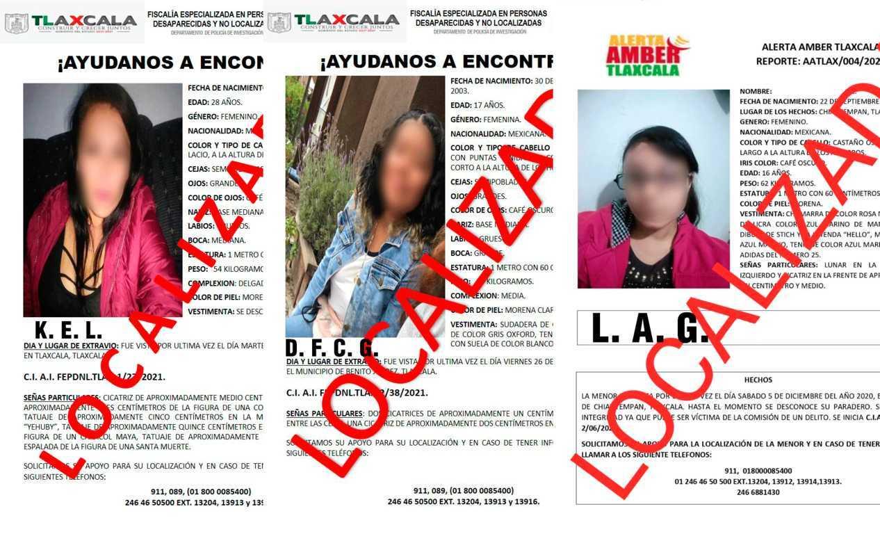 Localiza PGJE a tres mujeres reportadas como extraviadas