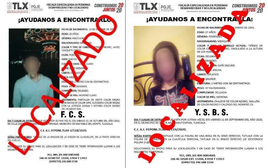 Ubica PGJE a dos personas reportadas como extraviadas