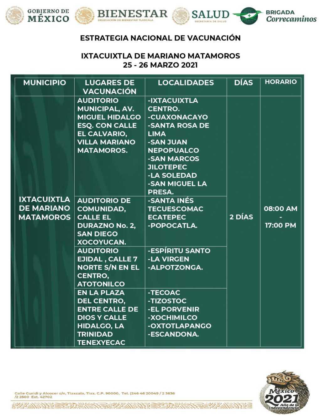 Anuncian vacunación contra Covid-19 en cuatro municipios de Tlaxcala
