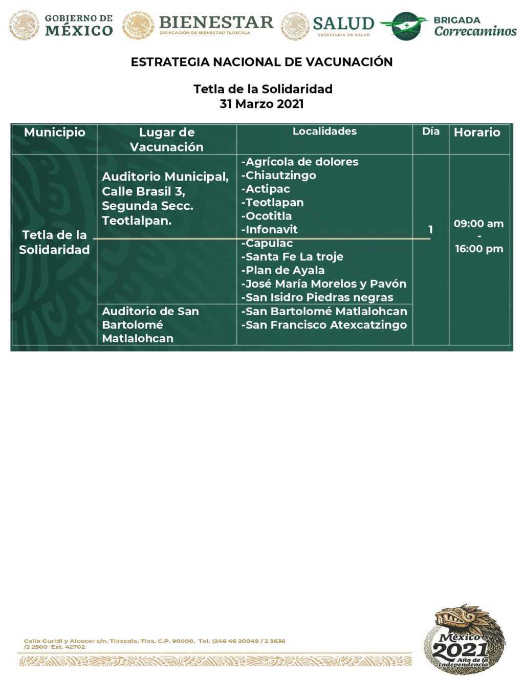 Aplicarán vacunas en Tlaxcala y Tela este miércoles