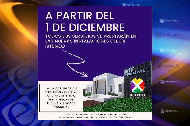 A partir del 1 de diciembre, todos los servicios se trasladan a nuevas instalaciones del SMDIF Ixtenco