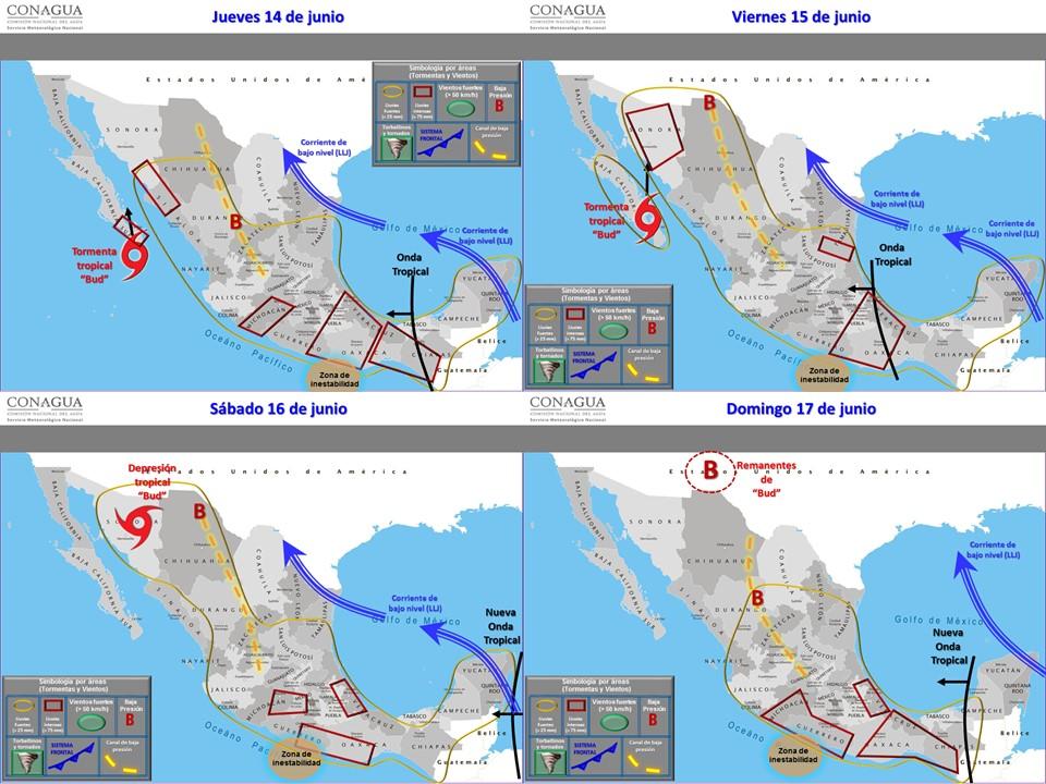La tormenta tropical Bud se encuentra a menos de 100 kilómetros de las costas de Baja California Sur