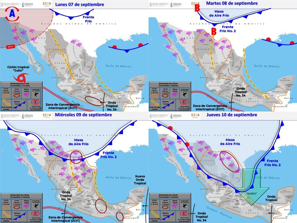 Se pronostican lluvias puntuales intensas para Tlaxcala, Guerrero y Oaxaca