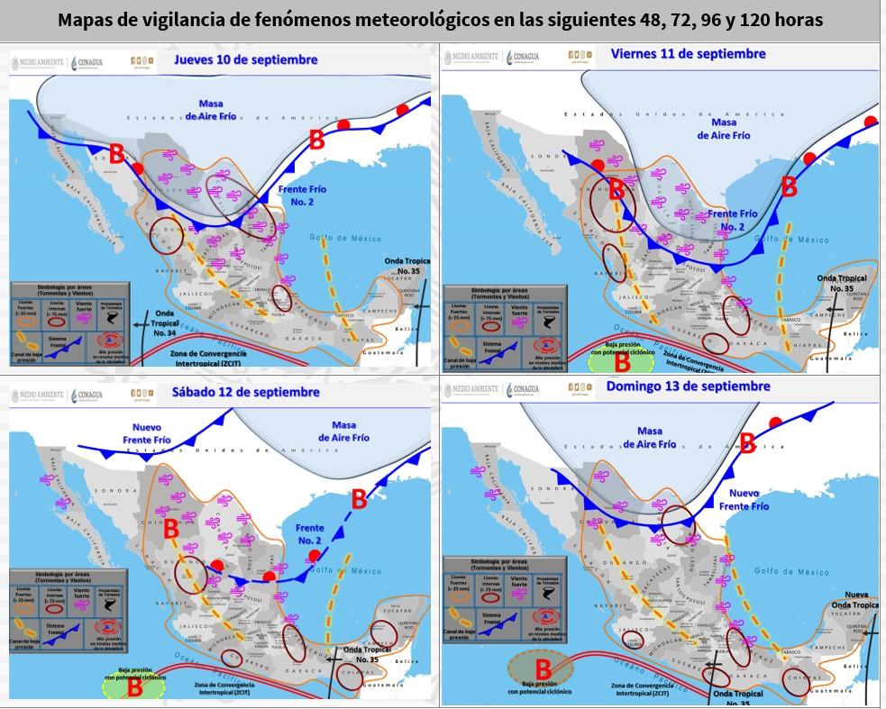 Se pronostican lluvias de muy fuertes a intensas para 20 estados, incluyendo Tlaxcala