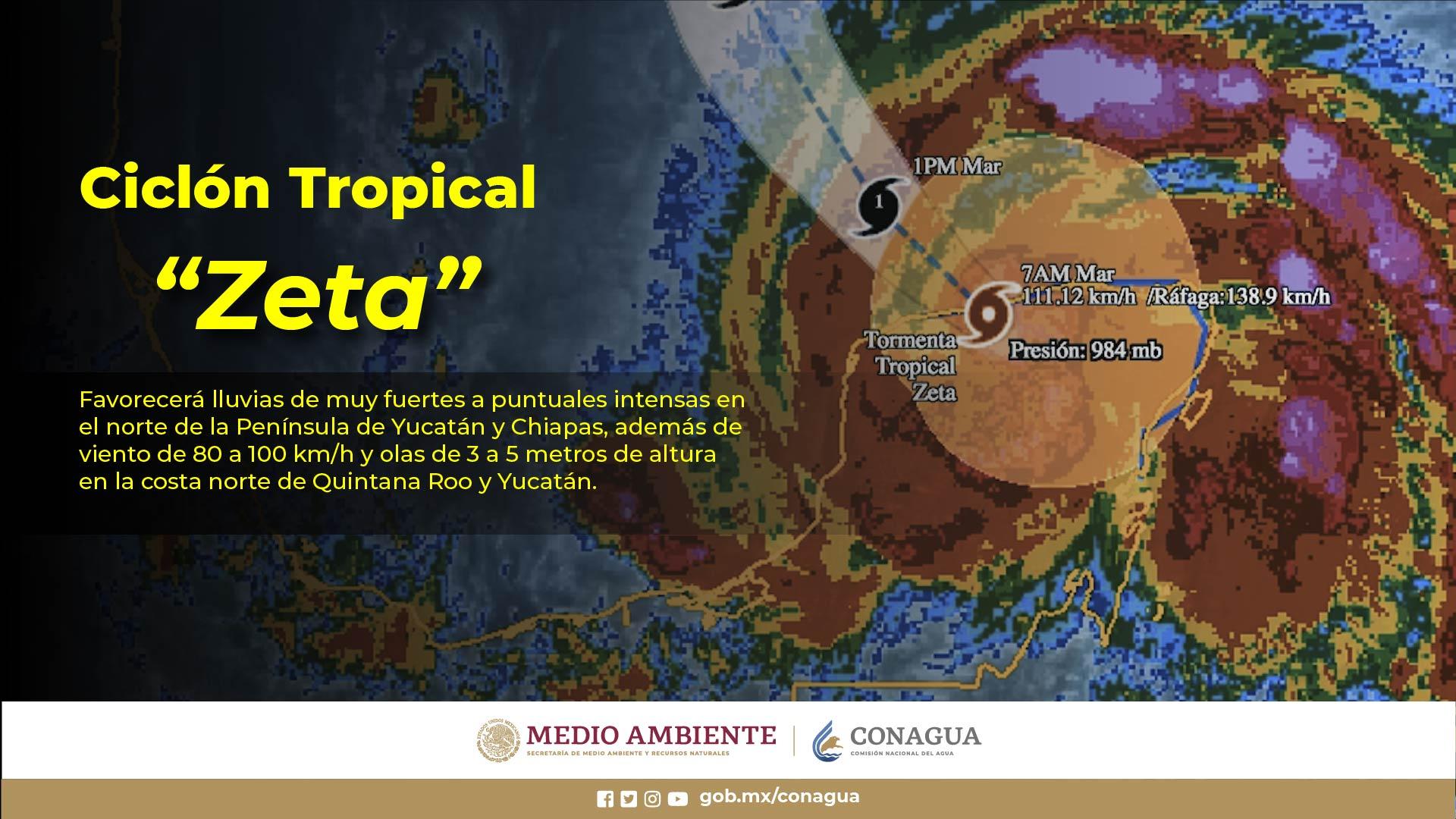 Zeta mantendrá las condiciones para lluvias intensas en Yucatán y muy fuertes en Campeche, Chiapas y Quintana Roo