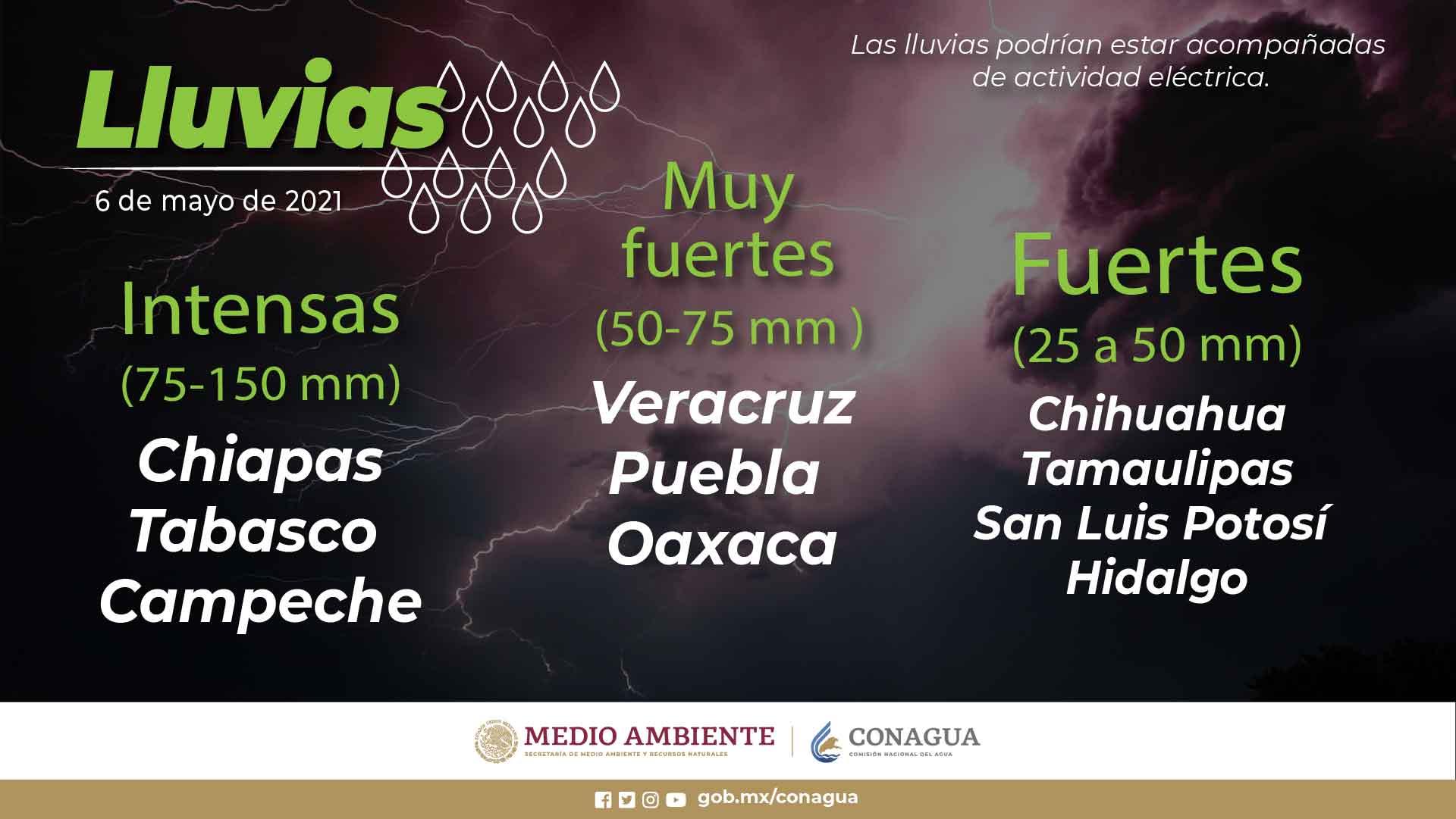 Lluvias intensas, descargas eléctricas y posibles granizadas, se pronostican para Campeche, Chiapas y Tabasco