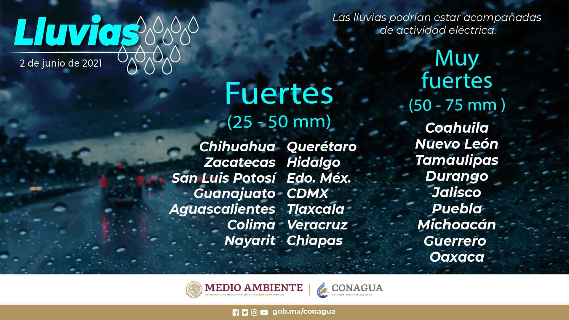 Se esperan lluvias fuertes para Tlaxcala el dia de hoy miércoles