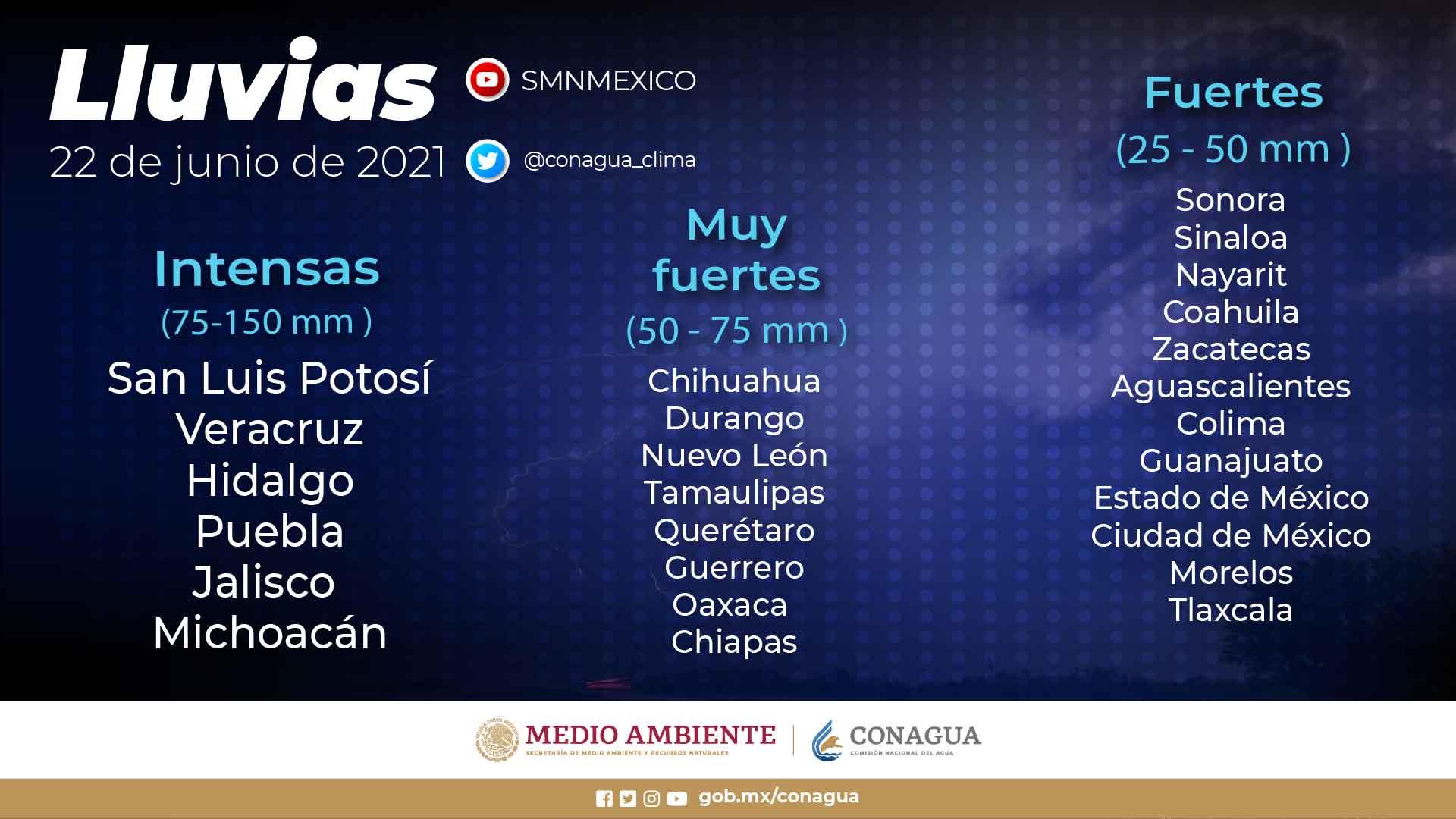 Se pronostican lluvias intensas para Hidalgo, Jalisco, Michoacán, Puebla, San Luis Potosí, Tamaulipas y Veracruz