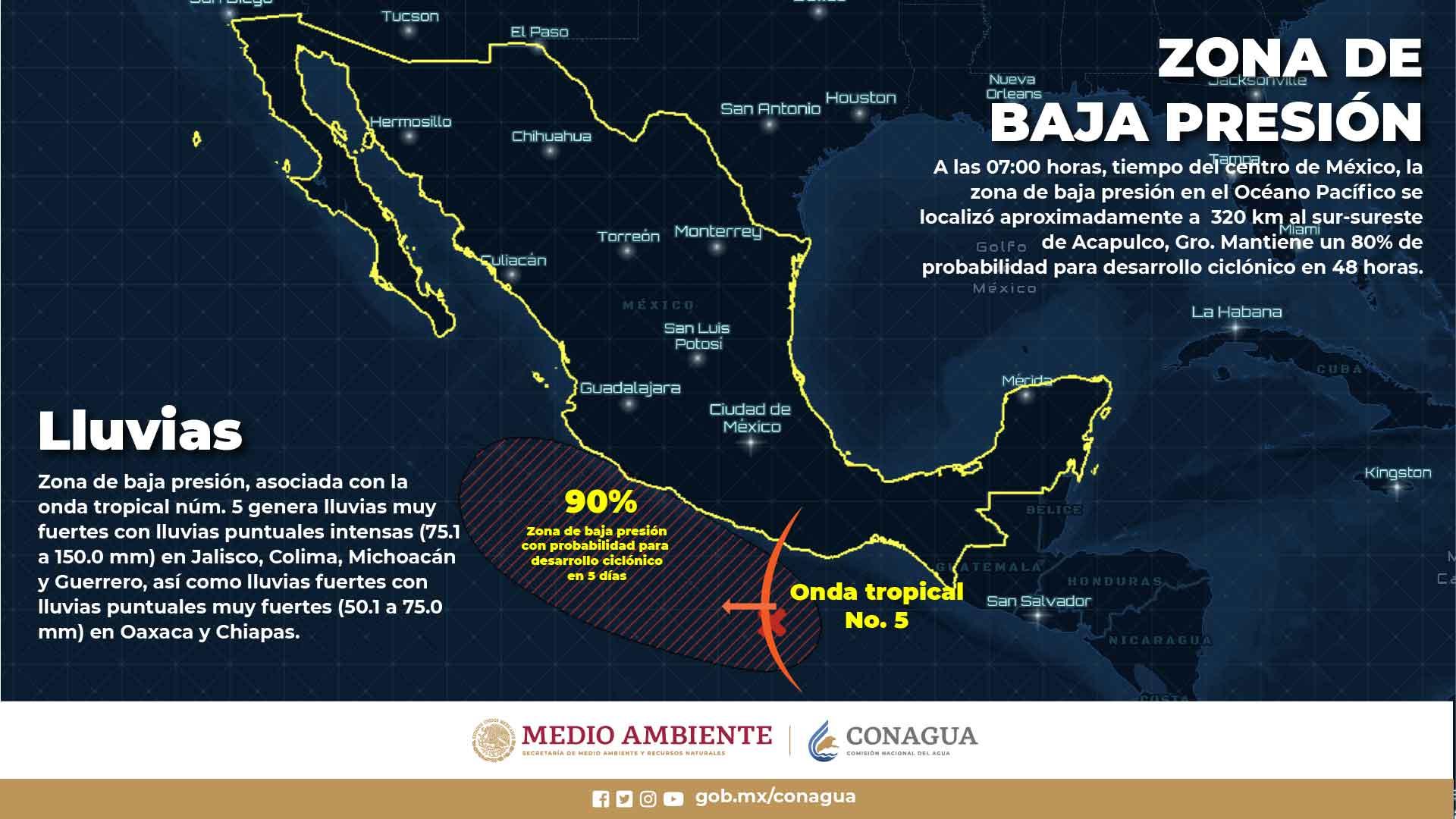 Lluvias puntuales intensas, se pronostican para Colima, Guerrero, Jalisco y Michoacán
