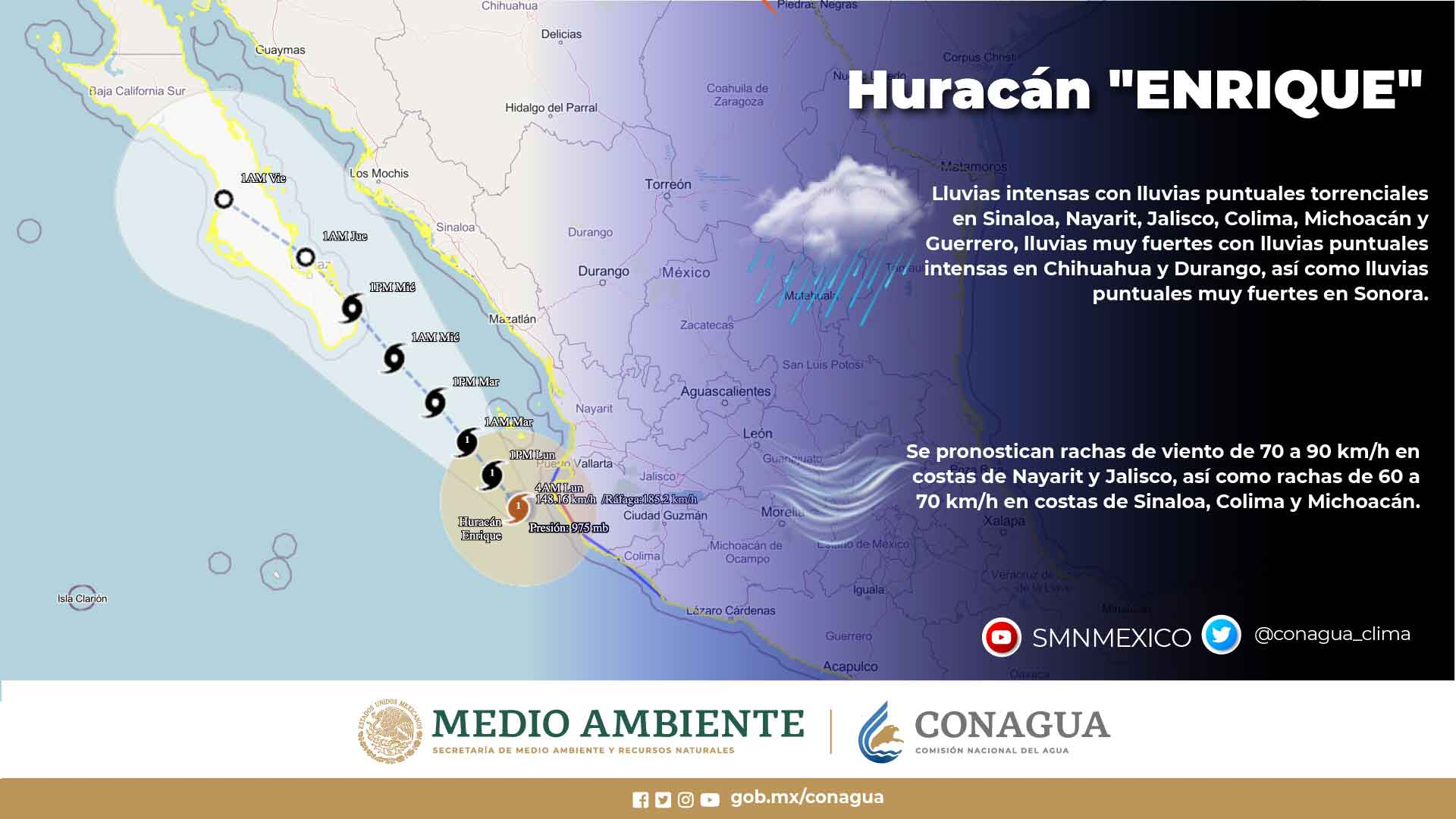 El huracán Enrique, continúa como categoría 1 y se ubica muy cercano de las costas de Jalisco