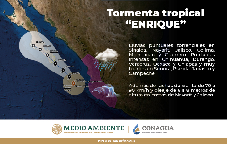 Enrique se debilita a tormenta tropical y presenta desplazamiento hacia Baja California Sur