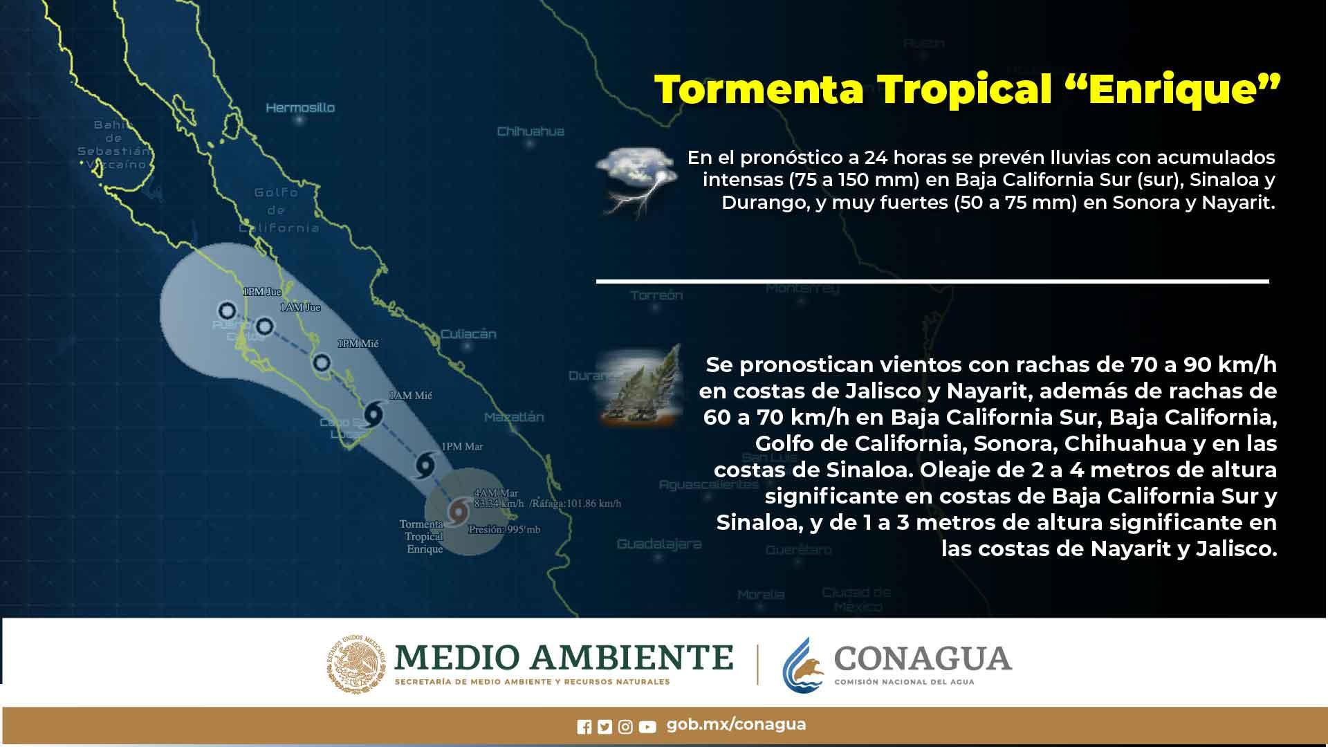La tormenta tropical Enrique continúa su desplazamiento hacia la Península de Baja California