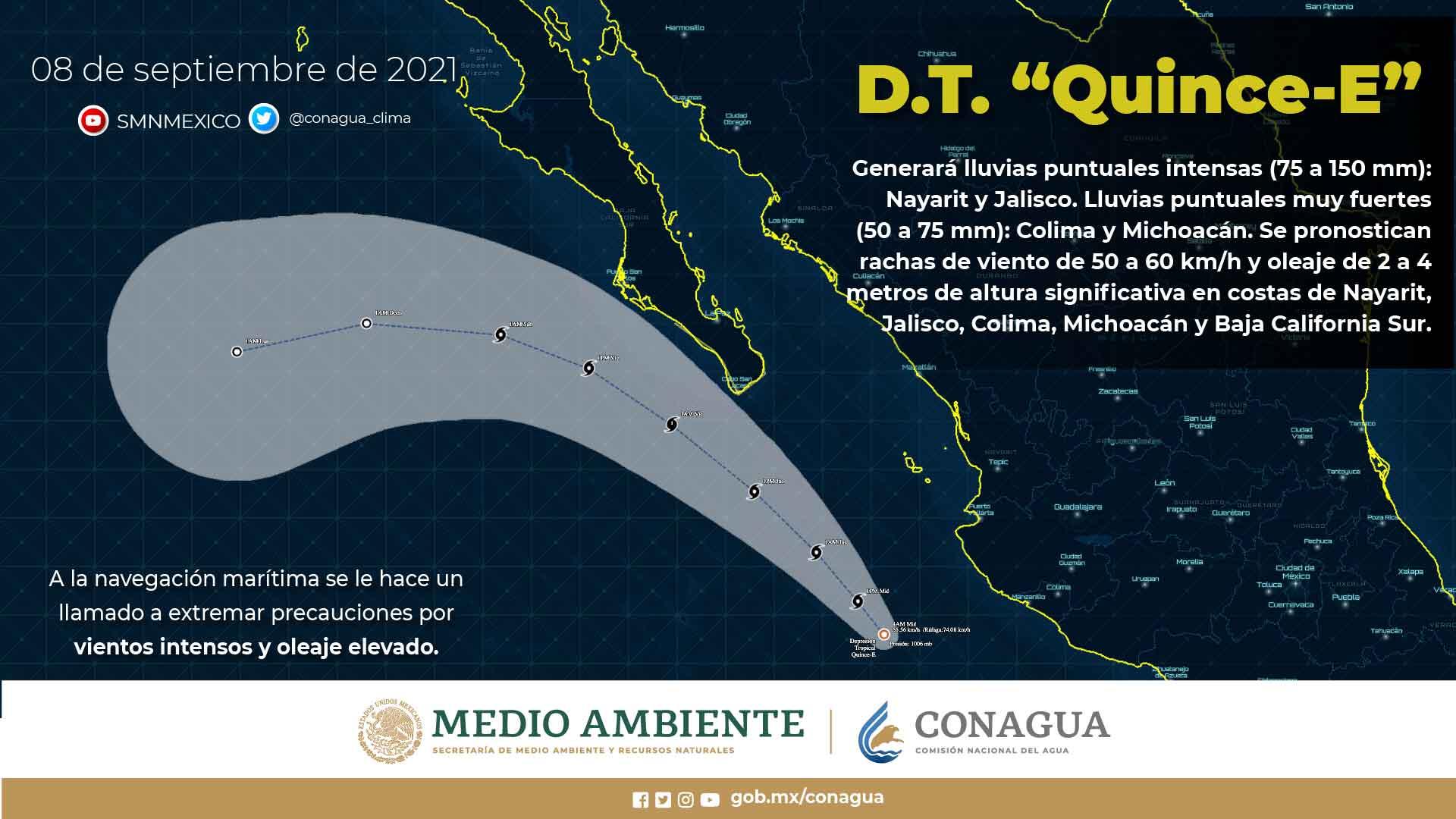 La Depresión Tropical Quince-E provocará lluvias en Jalisco y Nayarit, y muy fuertes en Michoacán