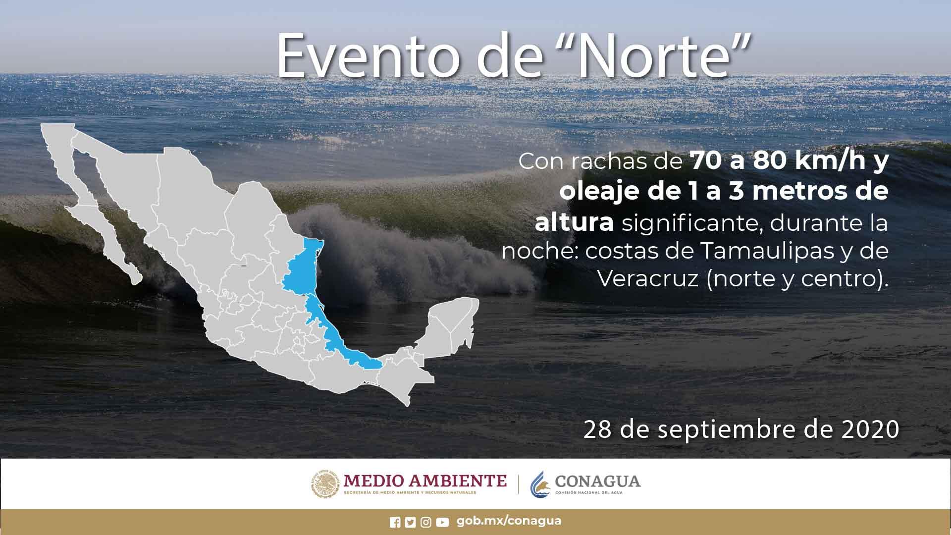 El Frente Frío No. 4 ocasionará lluvias intensas en Hidalgo, Oaxaca, Puebla, San Luis Potosí, Tamaulipas y Veracruz