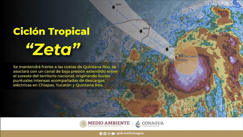 Zeta se intensificó a huracán categoría 1 en la escala Saffir-Simpson