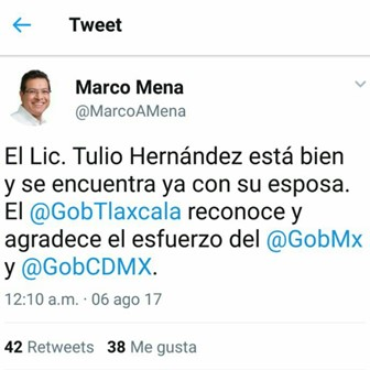 Localizan al ex gobernador de Tlaxcala Tulio Hernández