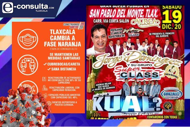 En pleno semáforo naranja preparan mega fiesta en San Pablo del Monte
